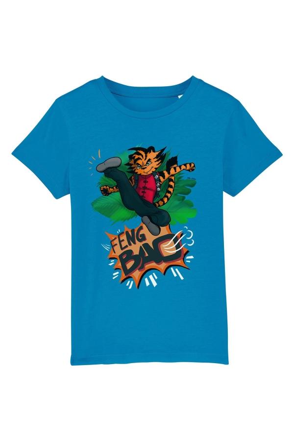 fengbao kung fu hu der tiger kids shirt azur vorne