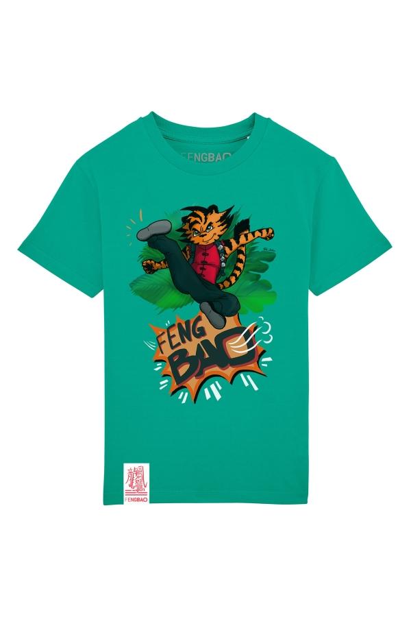 fengbao kung fu kids shirt hu der tiger vivid green