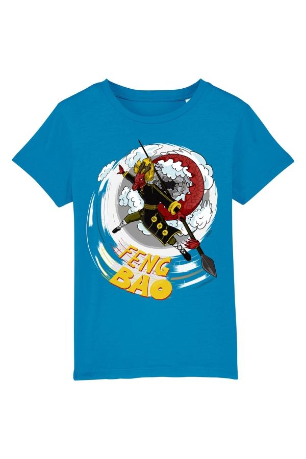 fengbao kung fu kids shirt long der drache blau