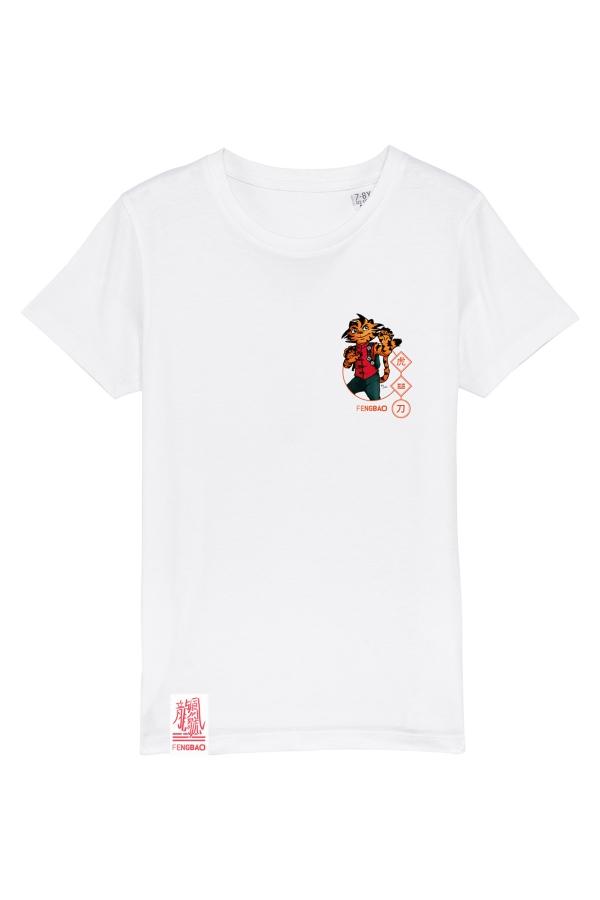 fengbao kung fu kids shirts weiss retro hu der tiger vorne neu