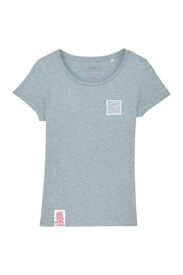 fengbao kung fu shop boxen essential shirt frauen heather ice blue vorne