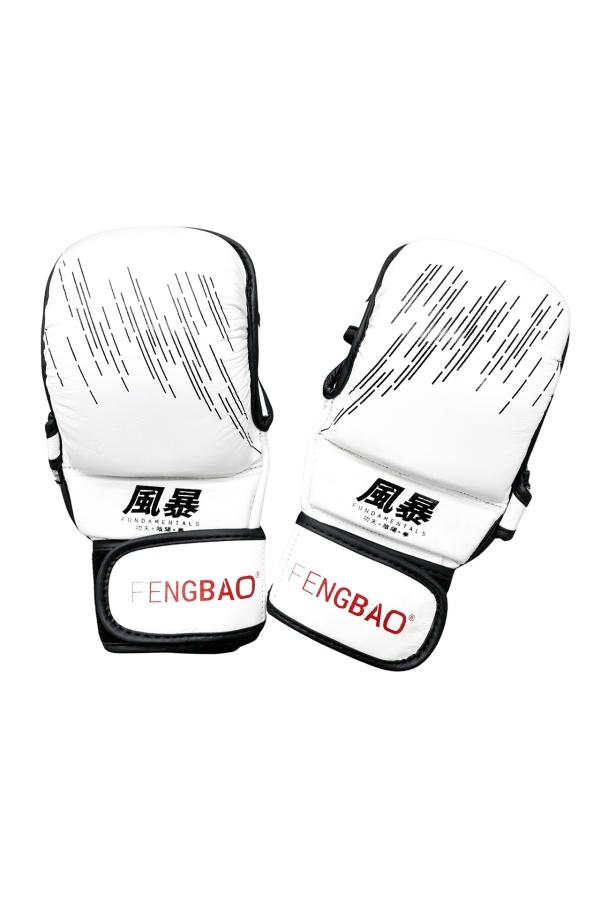 fengbao kung fu fundamentals mma handschuhe boxen grappling kickboxen weiss squashed