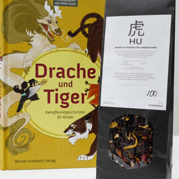 tee kinderbuch drache und tiger eistee pfirsich fengbao kung fu kampfkunst geschichten hochformat